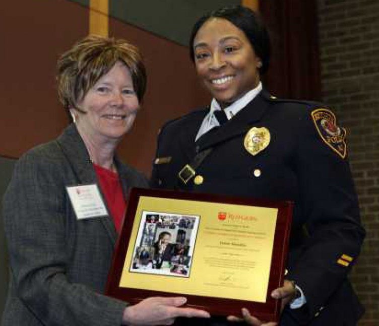Barbara Lee, senior vice president for academic affairs (left), with Lt. Jamie Hendrix Photo: Mel Evans